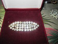 Beautiful vintage Brass Rhinestone Buckle design Bar brooch