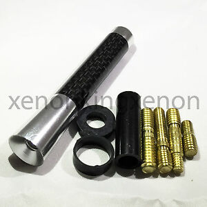 """JDM Style Short Silver 3"""" in/76 mm Carbon Fiber Screw Type Antenna #s5 Vehicles"""