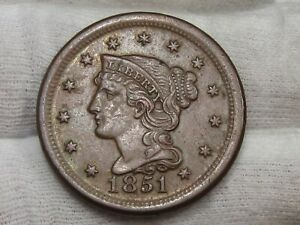 XF+ 1851 Large Cent.  #54