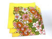 Vintage 1970's Flower Napkins Set of 3 Orange, Pink & Yellow Flowers