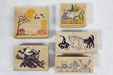 Lot of 5 Unused Halloween Wood Mounted Rubber Stamps Skeletons Witches Ghosts!