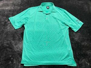 Footjoy FJ Men's Short Sleeve Polo Shirt Golf Size Medium Green