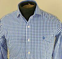 Ralph Lauren Mens Long Sleeve Gingham Button Front Shirt Size 14.5 32/33 Blue