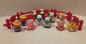 Fisher Price Little People Farmer Farm Animal Cow Pig Chicken Sheep 16 Piece Lot