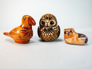 Lot of 3- Vintage Mexican Folk Art Pottery Birds