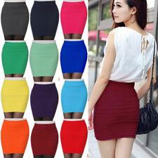 Women Pleated Seamless Stretch Tight Bodycon Mini Skirt Short Pencil Dress