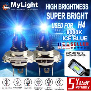 Super Bright H4 9003 HB2 8000K CSP LED Headlight Bulb Kit High Low Beam ICE Blue