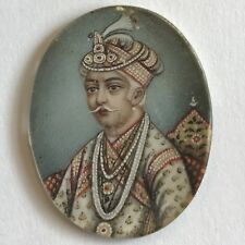 Antique Indian Miniature Painting Sikh Leader / Emperor Nobleman Fine Detail