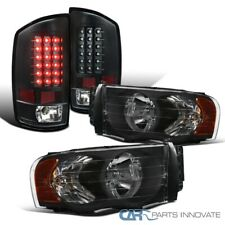 For 02-05 Dodge Ram 1500 2500 3500 Pickup Black Headlights+LED Tail Brake Lamps