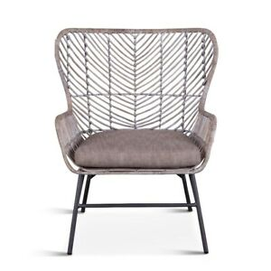 "28"" W Wingback Accent Chair Modern Grey Whitewash Rattan Wicker Metal Frame"