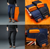 Mens Winter Warm Jeans Fleece Lined Denim Pants Thick Mid-Rise Straight Trousers