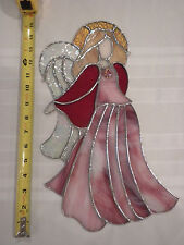 STAINED GLASS ANGEL PINK HANDMADE