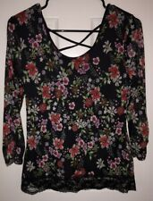 Almost Famous Womens Medium Floral Sheer Lace Blouse Black Stretch Nwot!