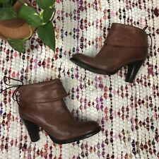 Bronx Size 38 Brown Leather Foldover Cuff Ankle Boots