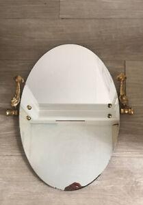 Vintage Lan-Bar Dolphin Range bathroom oval mirror gold plated