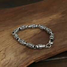 Link Chain Lection Cylinder Jewelry Men's 925 Sterling Silver Bracelet