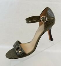 8e9c4c0c0eb Audrey Brooke Ankle Strap Trist Heels Olive Snake Print Leather Womens Shoes  7.5