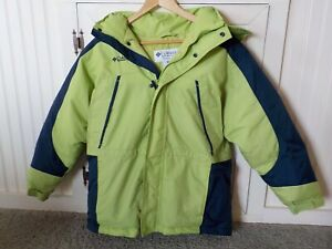 Columbia Winter Hooded Coat Jacket LG 14/16 Boys Youth EXCELLENT Lime green/Navy