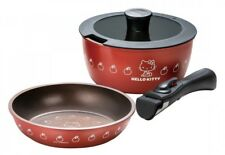 Sanrio Hello Kitty Detachable Handle Pot and Fry Pan 20cm 4 pieces Set Japan EMS
