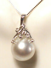 huge 13.9mm white South sea pearl pendant, diamonds, solid 14k white gold.