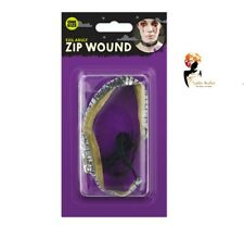 HALLOWEEN ZIP WOUND CHOKER Blood Make Up Fancy Dress Zombie Scar Gore HAL1315