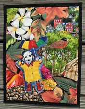 """""""April Showers"""" Collaged Art Quilt Wall Hanging with Dalmatian"""