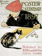 Art Nouveau Cat Ceramic Mural Backsplash Bath Tile #616