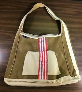 Vintage Lands End Tote Bag Large Carry On Overnight Beach Tan Red Brown Canvas