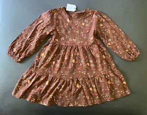 Toddler Girl Size 3-4 Years Next UK Brown Floral Tiered Long Sleeve Dress