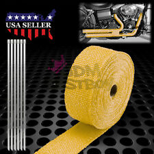 """Yellow Exhaust Pipe Insulation Thermal Heat Wrap 2"""" x 50' Motorcycle Header"""