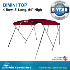 "New Bimini Top Boat Cover 4 Bow 54"" H 73"" - 78"" W 8 ft. L. Solution Dye Burgundy"