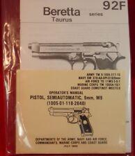 Beretta 92F Taurus Pistol 9mm M9 Gunsmith Maintenance & Operator's Manual Book