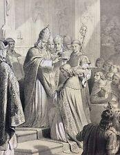 Couronnement de Charlemagne Lithographie 1861 d'après Désandré grav Levilly Roi