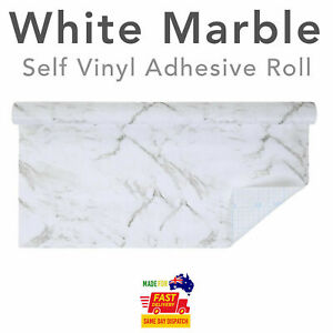 Vinyl Self Adhesive Wallpaper Roll Kitchen Contact Paper Film White Marble