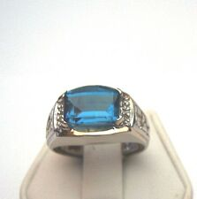 ESTATE MANS WHITE GOLD LONDON BLUE TOPAZ AND DIAMOND RING 10KT SOLID GOLD
