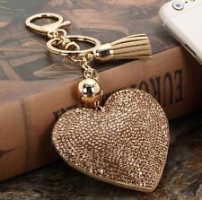 Champange Rhinestone Handbag Heart Love Pendant Keychain Bag Keyring Jewelry