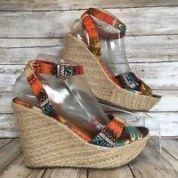 b7cf4b5e2e1 Mia Platform Sandals Womens 8.5M Kareena Orange Blue Ankle Strap Rope Wedge  Heel