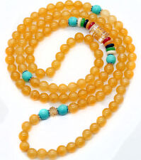 6mm Tibetan Buddhist 108 Yellow Jade Prayer Beads Lama Amulet Necklace Bracelet