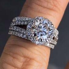 2.65Ct White Diamond Halo Engagement Wedding Ring Set Solid 14k White Gold