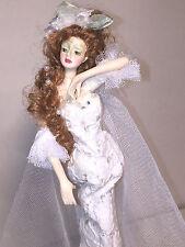 "New 13"" Tassel Resin Doll Bride white lace dress tulle veil stick/ Pencil (R1751"