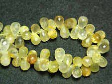 Gold Rutilated Quartz Briolettes Gemstone Tear Drop Faceted Beads 8 Inch Strand