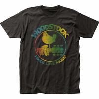 Woodstock Colorful Logo T Shirt Mens Licensed Rock N Roll Music Retro Band Black