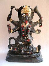 GODDESS KALI STATUE WITH SHIVA HAND CARVED GODDESS BLACK STONE SCULPTURE 12 CM