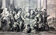 Les Disciples d'Emaüs  acquaforte originale Crozat Cabinet, 1763.P.VERONESE