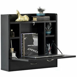 Wall Mount Folding Laptop Writing Computer or Makeup Desk with Storage Shelves