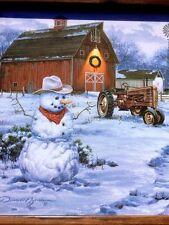 Darrell Bush COWBOY SNOWMAN John Deere Tractor Red Barn PRINT Matted FRAMED ART