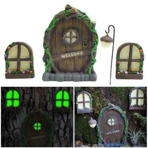 Garden Ornaments Statue Elf Luminous Door Window Resin Retro Yard Art Tree New