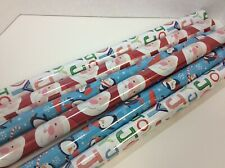 Hallmark Christmas Wrapping Paper - 6 Rolls-2-sided/reversible Santa Penguins +