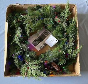 FRONTGATE Lighted White Pine Cordless Wreath NEW