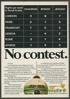 SAUDIA Saudi Arabian Airlines - 1980 Vintage Airline Print Ad